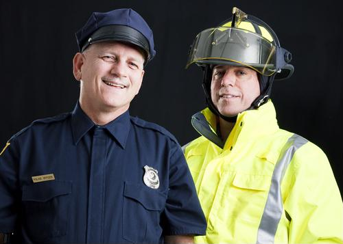 firefighter and police officer
